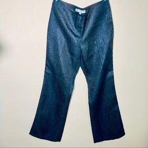 TRINA TURK black metallic animal print pants sz 4